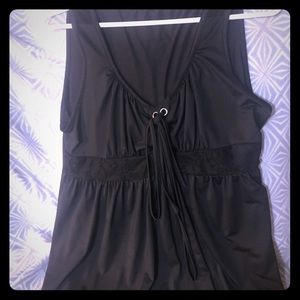 Black Silky Tank Top with Empire Waist Tie & Lace
